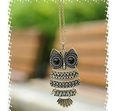 Occident Retro style fashion owl Long chain charms necklace 1pcs