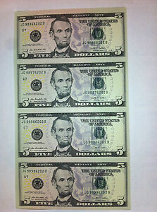 Details About Uncut Sheet 5 X 4 Legal Usa Five Dollar Real Currency Note Rare Money Gift