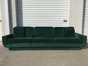 Image Is Loading Green Sofa Couch Vintage Hollywood Regency Loveseat Lounge