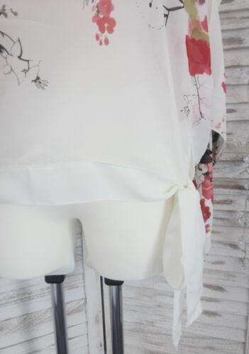 Bluse Tunika Cut Outs Chiffon weiß bunt Fledermaus Blume ELFE 38 40 42 NEU SALE