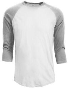 2064e8359 3/4 Sleeve Plain Baseball Raglan T-Shirt Tee Mens Jersey White Gray ...