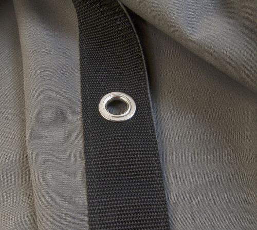 "Sunbrella Tarp Charcoal Grey # 6044 w// #4 Rolled Rim Spur Grommets 9//16/"""