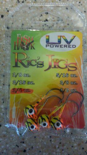 Package of 10 UV PoweredFish Hawk Ric/'s Jigs Org//Char//BackJigheads 1//4 oz Keeper