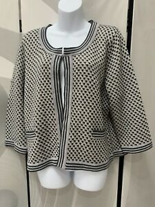 Per-Una-Grey-Sparkly-Knit-Patterned-Hook-Cardigan-Size-20-Chic-Preppy-Work
