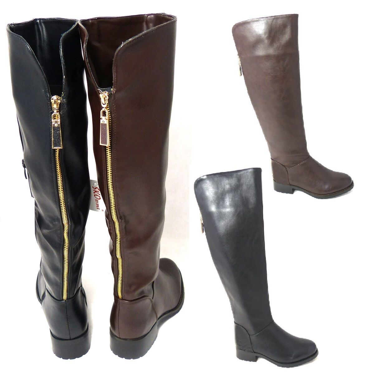LADIES WOMENS KNEE HIGH GOLD BACK ZIP BIKER FASHION BOOTS SHOES SIZE 3-8