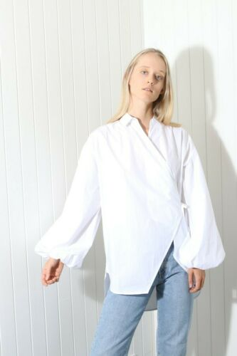 Ganni Olayan Oversized Cotton Poplin Wrap Top Shir
