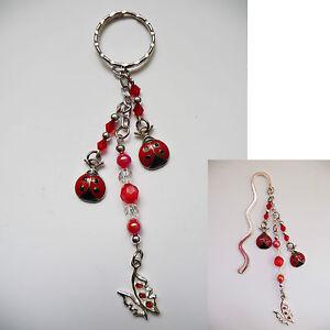 Beaded-Silver-Bookmark-OR-Handbag-Bag-Tag-Keyring-Dangle-Lady-beetle