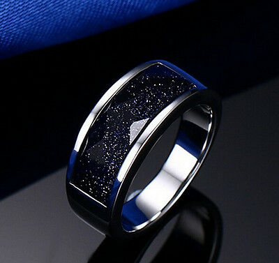 Free Ship  Stainless Steel Dark Bule Stone Ring For Men's Fashion Jewelry 6-10#