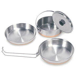 STANSPORT 3 PC MESS KIT SET STAINLESS STEEL COPPER BOTTOM CAMPING OUTDOOR NEW