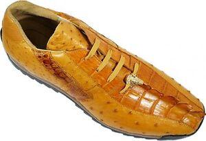 Studio-Belvedere-Men-039-s-Forte-Leather-Antique-Saddle-Ostrich-Caiman-Dress-Sneaker