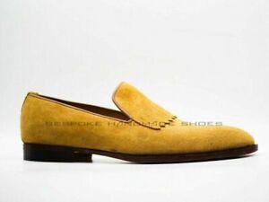 Fait à la main Mocassins en daim beiges et chaussures formelles