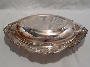 Vintage-Sheridan-Silverplate-Covered-Casserole-Dish-w-Sectioned-Glass-Insert