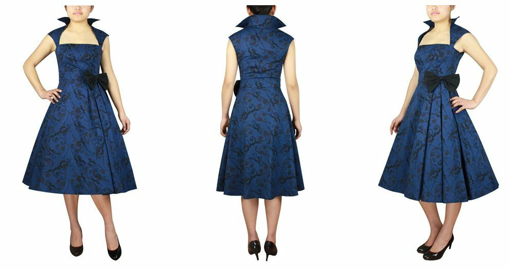blueE PRINTED BELTED PLEAT DRESS WITH BOW & COLLAR RETRO VINTAGE 50s STYLE PINUP