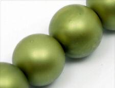 20 Glaswachsperlen 12mm olivegrün-matt gw222