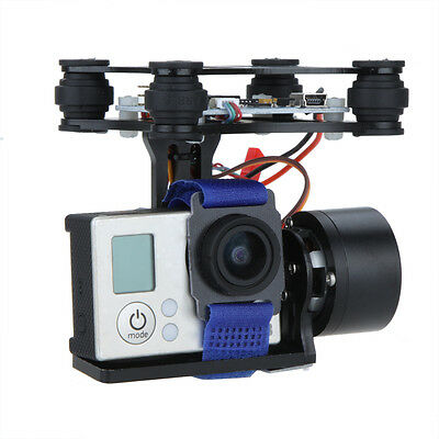 Black CNC FPV BGC 2 Axis Brushless Gimbal w/Controller&Sensor for GoPro 3 Camera