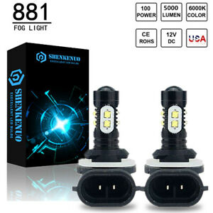 2X LED Fog Light lamp Bulbs Kit 881 6000K White 100W for 2005-2009 Kia SPECTRA 5