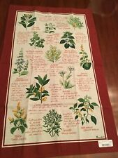 BEAUVILLE French Kitchen Dish Tea Towel Christmas Holiday Wreath Hand-Printed