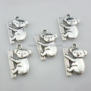 12//36pcs Tibetan silver Jewelry Making Koala Charms Pendentif Perles 14x20mm