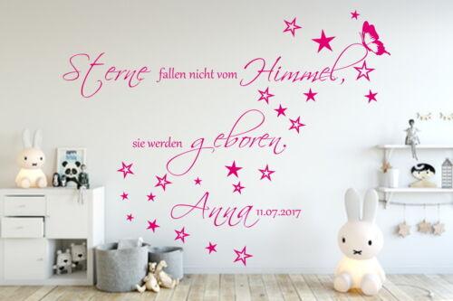Wandtattoo AA138  Kinderzimmer Sterne fallen nicht...Wunsch Namen Junge Mädchen