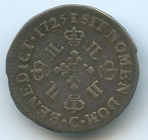 Louis XV (1715-1774) 1/16 Écu Of 8 THE / OF 1725 C Caen