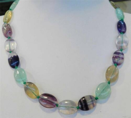 Natural 13x18mm Multicolor Fluorite oval Gemstone Necklace 18/'