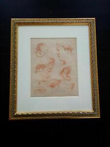 Rare gravure XVIIIème Demarteau Huet sanguine études visages superbe cadre