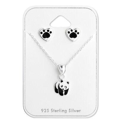 925 Sterling Silver Panda Bear Pendant Necklace /& Stud Earrings Gift Set