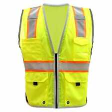 Class 2 Tone High Visibility Construction Safety Vest Reflective With Pockets Lime