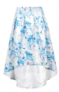 Wolf and Whistle bluee Floral Drop Hem Skirt rrp  Size LS079 JJ 08