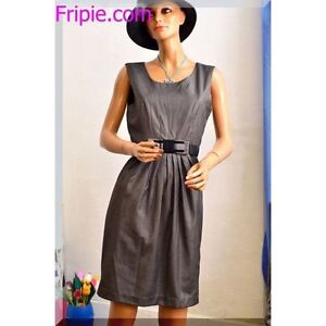 robe-classique-Phildar-grise-taille-36-S-T1-ref-121627