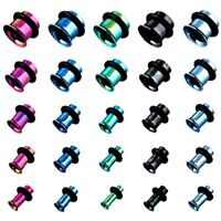 Pair (2) Titanium Anodized Single Flare Ear Plugs Tunnels Earlets Gauges