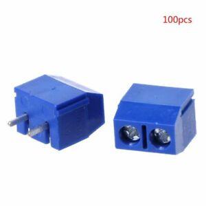 100Pcs-PCB-Mount-Terminal-Block-Connector-5mm-2-Pin-2-way-Screw-Pitch-Panel-Hot