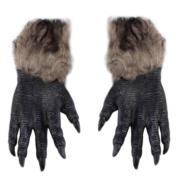 One Pair Halloween Werewolf Wolf Paws Claws Cosplay Gloves Creepy Costume OK