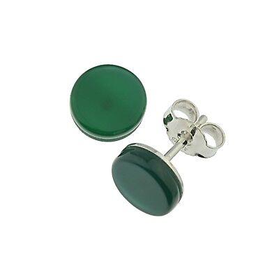 Ohrringe Grün Achat Brisur 925 Silber Kugel A16381