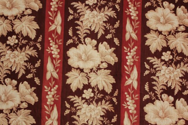 Antique French madder brown fabric c1850  floral stripe material old 19th c