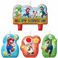Super Mario Brothers Birthday Candles Set 4ct Party Decorations Cake Toppers