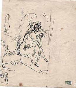 PASCIN-dessins-encre-U-S-A-1916-17-034-Femme-assise-034-certificat-d-039-authenticite