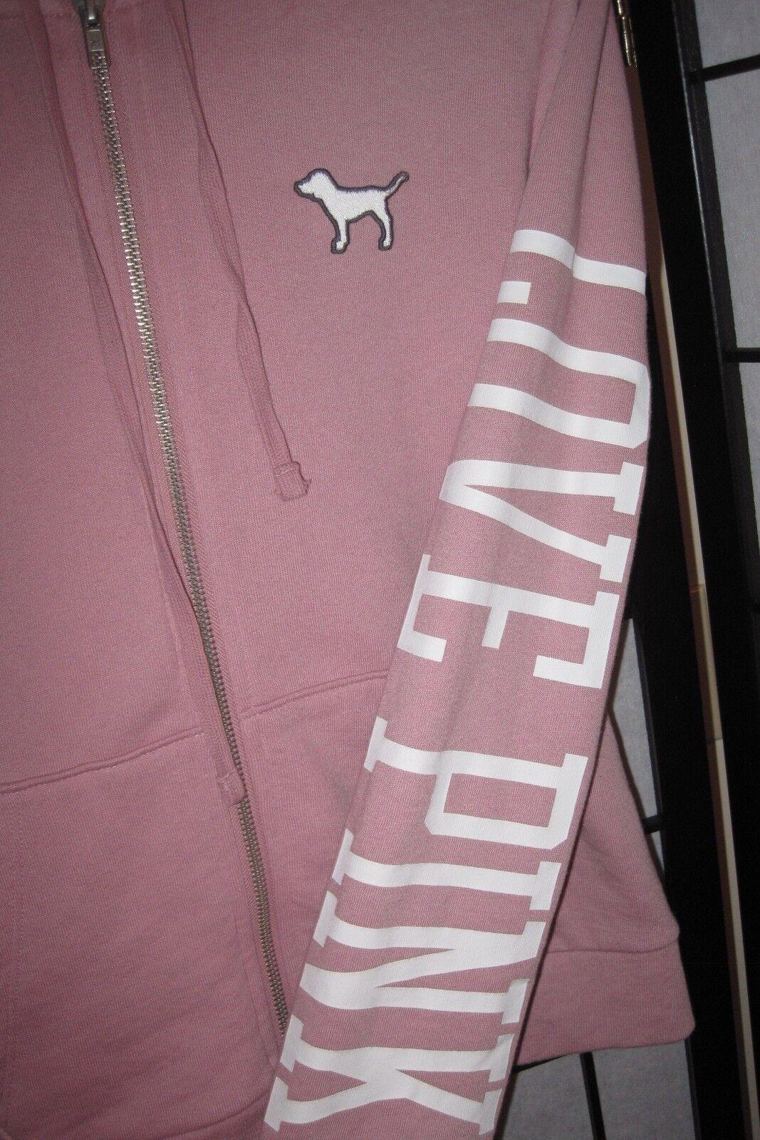 NWT VICTORIA'S SECRET PINK S pink SHERPA HOOD PERFECT ZIP ZIP ZIP UP HOODIE SWEATSHIRT cf77ef