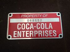 Vintage Coke Machine Property Tag Aluminum Old  Factory Find