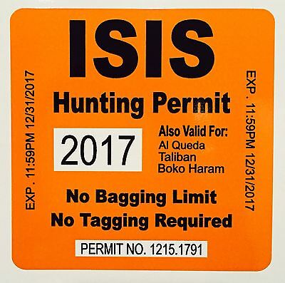 3 PACK ISIS HUNTING PERMIT DECAL STICKER AR15 MILITARY ARMY IRAQ MAGPUL FUNNY