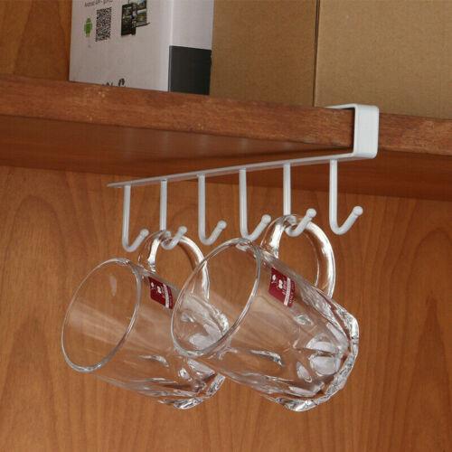 Iron Painting 6 Hooks Kitchen Organizer Hanging Rack Cupboard Under Shelf Holder