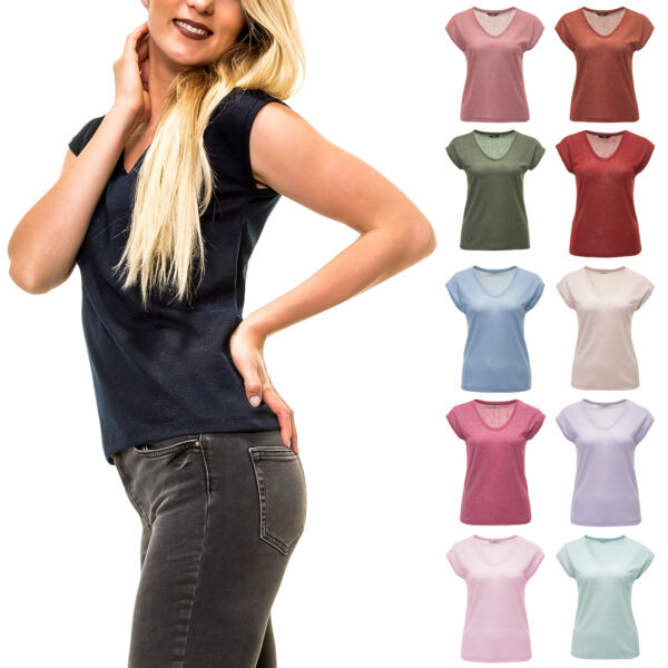 100% Verdadero Only Señora Manga Corta Camisa T-shirt Camiseta Top Basic Stretch V-neck-ver