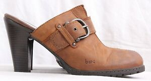 B-O-C-by-Born-Brown-Leather-Stitched-Split-Toe-Buckle-Heel-Mule-Women-039-s-U-S-10