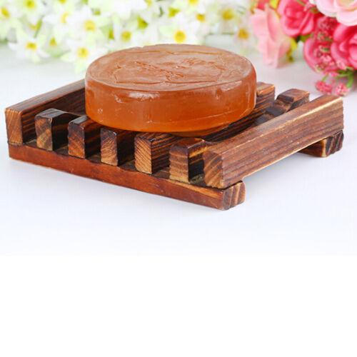 Natural Wood Wooden Soap Dish Storage Tray Holder Bath Shower Plate Bathroom W7