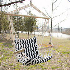 Hammock Hanging Rope Chair Porch Canopy Swing Seat Patio Portable W/Spreader Bar