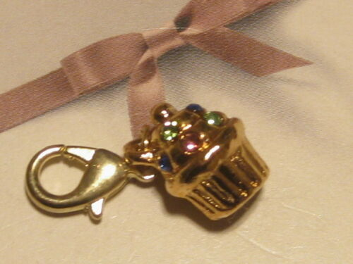 FIT CARRIER BRACELET LOBSTER CLIP ON  GOLD//PL DIAMANTE CUPCAKE//MUFFIN