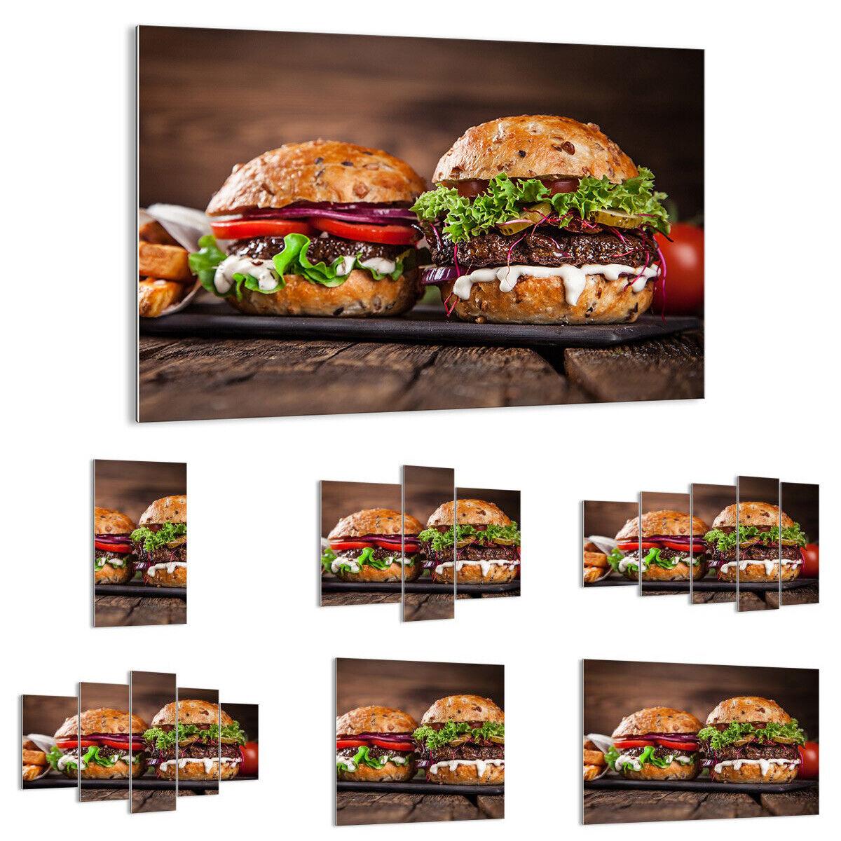 GLASBILD Wandbild Deko Amerikaner Hamburger Essen Barbecue 2869 DE