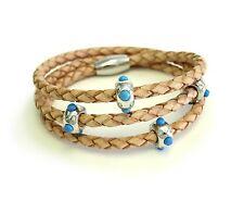 Silver Pow Wow Triple Wrap Camel Leather Bracelet