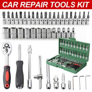 46pc Socket Set 1//4 3//8 Wrench Torx Ratchet Driver Screwdriver Bit Extension Kit