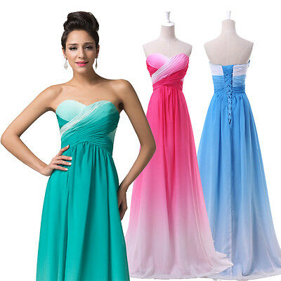 Gradient Ombre Gown Evening LONG Prom Wedding CocktailParty Bridesmaid Dresses